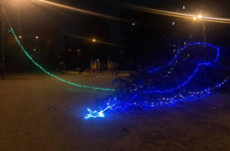 У Тернополі сильний вітер повалив головну новорічну ялинку мікрорайону (ФОТО, ВІДЕО)