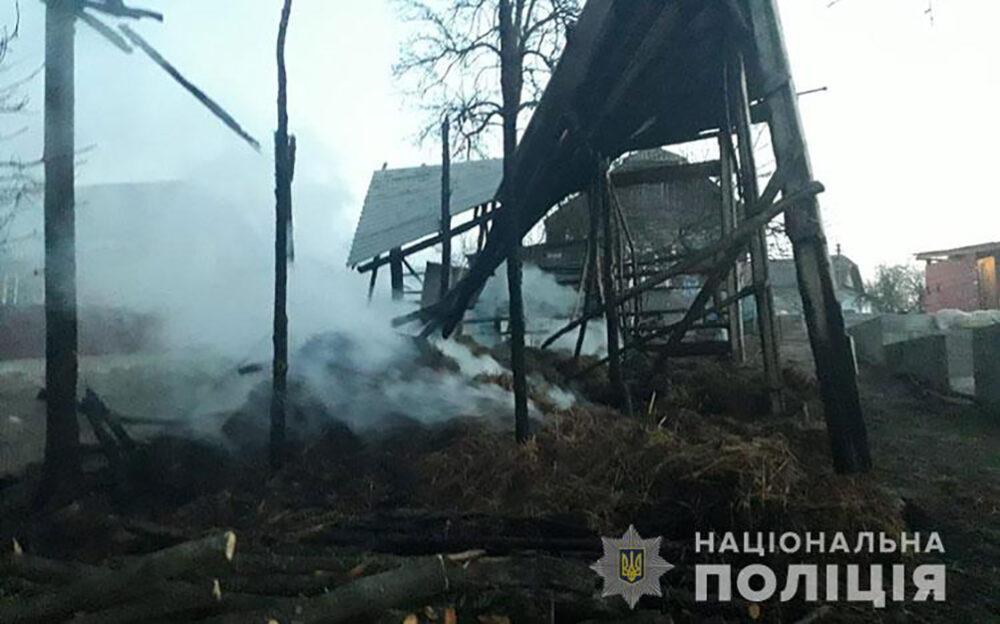 Продали коня і не поділилися грішми: на Монастирищині чоловік спалив родичам шопу із сіном