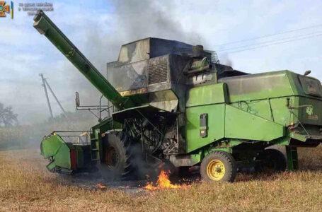Вчора на полях Тернопільщини загорілися два комбайни
